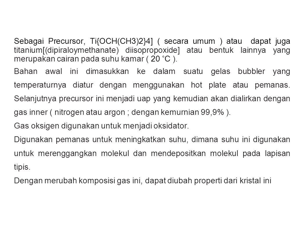 Sebagai Precursor, Ti{OCH(CH3)2}4] ( secara umum ) atau dapat juga titanium[(dipiraloymethanate) diisopropoxide] atau bentuk lainnya yang merupakan cairan pada suhu kamar ( 20 °C ).
